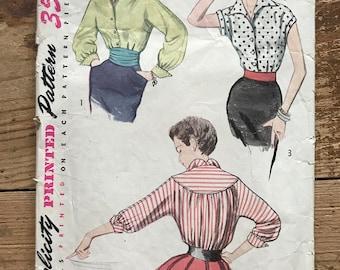"1950s Blouse Pattern Simplicity 4237 Size 12 Bust 30"""