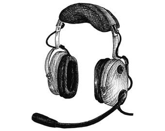 David Clark Headset Aviation Drawing Print