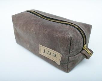 Leather Dopp Kit / Leather Pouch / Travel Organizer- Heavy Duty Zipper/ Personalized Initial Patch-CUSTOM