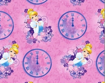 Cinderella Clock and Carriage on Pink Cotton Woven by Springs Creative