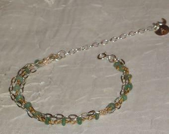 Bracelet Sterling Silver + Gold 22k_emeraude_personnalise_gravure_creation_ handmade.
