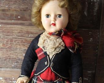 "Pedigree Scottish Doll, Made in England, 14"" Tall, Vintage, Highland Lassie"