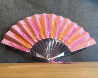 Pink linen, feathers, crystal resin, pearls, ULIE Fan