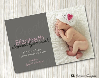 Modern Gray Photo Baby Birth Announcement | Gray Custom Photo Birth Announcement | Printable Birth Announcement | Photo Card | Digital