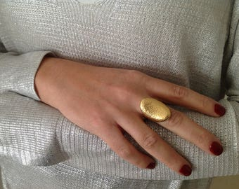 Gold Rings for Women, Gold Plated Statement Ring, Adjustable Ring, Plated Gold Ring, Large Ring, Unique Ring, Artisan Ring, Elegant Ring