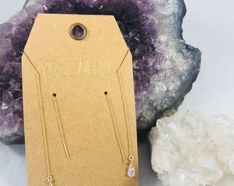 Opal threader earrings