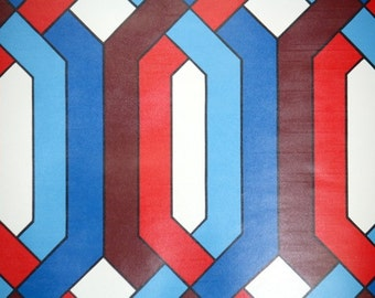Retro Wallpaper by the Yard 70s Vintage Wallpaper - 1970s Red Blue and White Geometric
