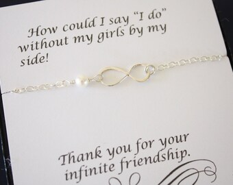 6 Silver Bridesmaid Infinity Bracelets, Infinity Eternity Jewelry, Bridesmaid Gift, Bridesmaid Thank You Card, White Pearl, Sterling Silver