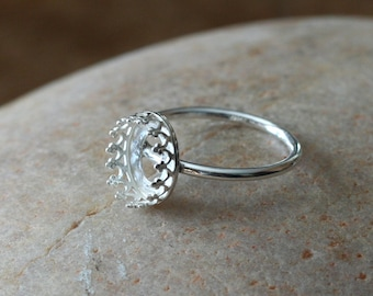 Oval Gallery Bezel Crown Setting Ring • 10x8 mm Oval • Sterling Silver • Ready to be Set with Your Own Stone • Supplies