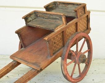 Folk Art Cart Wooden Cart with Wheels