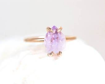 Amethyst Ring, Raw Amethyst Crystal Ring, Vera Cruz Amethyst, Lavender Light Amethyst Ring, Amethyst 14K Gold Filled, Amethyst Silver Ring