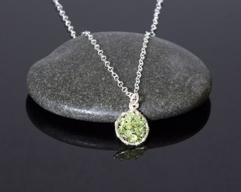 Peridot pendant necklace | sterling silver wire wrapped jewelry | August birthstone pendant | circle pendant
