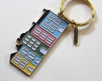 The Charleston Collection - Rainbow Row Brass + Enamel Keychain