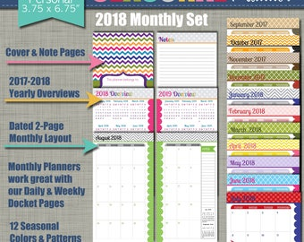 """20% OFF: 2018 Printable Monthly Planner - Seasonal Design - Calendar Year - Sized X-Small (personal size) 3.75"""" x 6.75"""" PDF"""