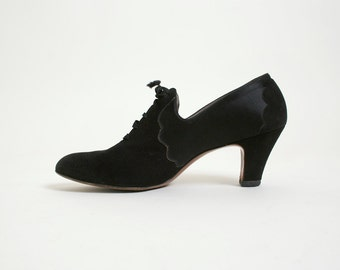 Vintage 1930s Heels - Vitality Suede and Satin Shoes - Size 7 AA Narrow