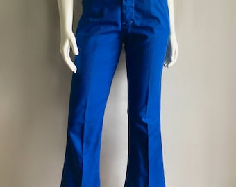 Vintage Women's 70's Blue Flare Pants, Mid Rise, Polyester (M)