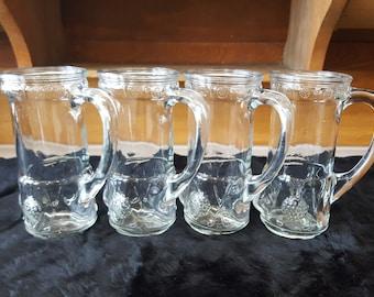 Vintage Glass Golf Mugs, Antique Anchor Hocking Beer Glasses, Golf Bag Shaped Mugs, Set of 4, Gift for Golfer, Gift for Him, Gift for Her