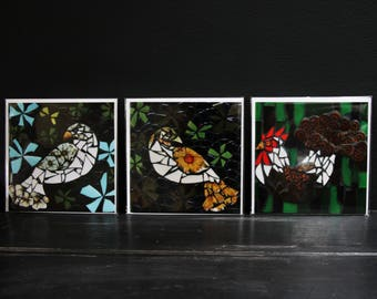 Set of three mosaic bird greeting cards