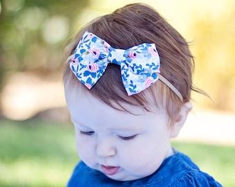 Hair Bow, Bow Headband, Headband, Headbands, Fabric Hair Bow, Hair Clip, Baby Bow, Bow, Alligator Clip, Rifle Paper Co - Rosa In Periwinkle