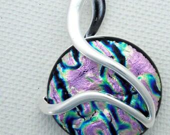 Pink fused glass pendant - silver swirl - silver setting - dichoric glass jewelry - fused glass jewelry - OOAK