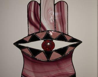 Hamsa against evil. Handmade stained glass