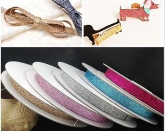 "3/8"" Metallic Glitter Ribbon , Shiny Ribbon for CraftsCake, Ribbon, Hair Bows, Party Decorations, Shiny Ribbon for Crafts"