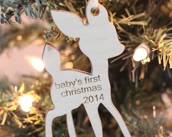Kleines Reh Baby erste Weihnachten ornament