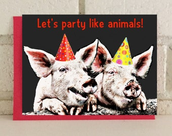 Party Pigs Birthday Card Farm Animals Greeting Card