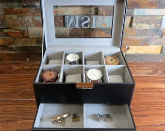 Personalized Watch Box with Jewelry Drawer - Keepsake box- Christmas Gift- Groomsmen - Gifts for Men - Fathers Day