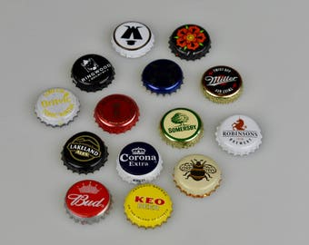 50 Mixed Bottle Tops / Caps - Beer and Other Alcohol / Soft Drink Brands- Craft Supplies - Restaurant/Bar Decor
