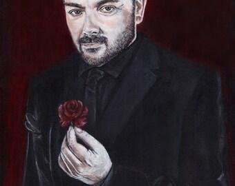 Supernatural Crowley Mark Sheppard Acrylic Painting Art Print. 11.7 x 16.5 inch