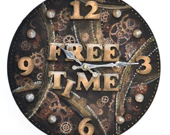 Wall clock round steampunk-free time