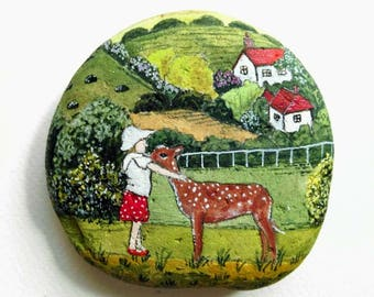 Stone painting, Hand painted art, Child and deer