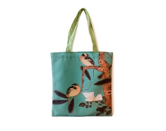 Tote bag, Chinoiserie, Tote bag canvas, Bird bag, Canvas bag, Bird print, Shopping bag, Bag, Shopper bags, bag, Vintage style, Chinese