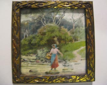 For the dollhouse ... antique paintings with copper frame ... 20-30's!
