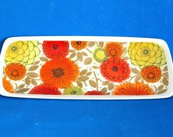 Westminster Fine China Flower Power Plate - Retro 70s Zinnia Sunflower Daisy Poppies Serving Platter Tray Dish - Made in Australia