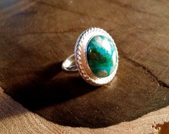 Handmade, Sterling Silver, Chrysocolla, Women's Ring, Size 7, Shimmering, Blue, White, Green, Orange