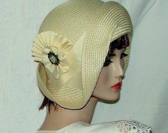 Cream Straw flapper Gatsby summer cloche with ivory trim Downton Abbey hat Miss Fisher cloche