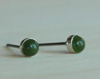 Nephrite Jade Gemstone 4mm Bezel Set on Niobium or Titanium Studs - Hypoallergenic & Nickel Free Post Earrings for Sensitive Ears