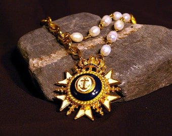 anchors away necklace with vintage brooch