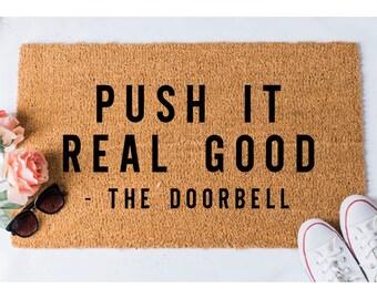 Push It Doormat - Funny Doormats - Funny Doormat - Welcome Mat - Unique Doormat - Funny Mat - Doormats - Doormat Humor - Cheeky Doormat