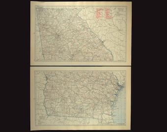 Vintage savannah map Etsy