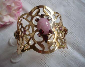 Gold metal lace Cuff Bracelet