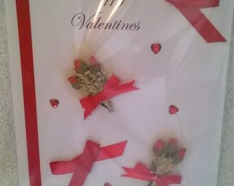 Valentine Card with red rose buds