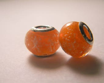 bead charm European glass Lampwork - orange glow - 14 x 10 mm-C31-1