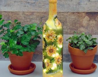 Wine bottle lamp / hand painted sunflowers