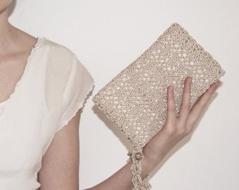 Bridal Clutch Champagne, Bridal Makeup Bag, Champagne Clutch Bride Clutch, Evening Bag Gold, Gift for Bride from Bridesmaid, Gold Clutch