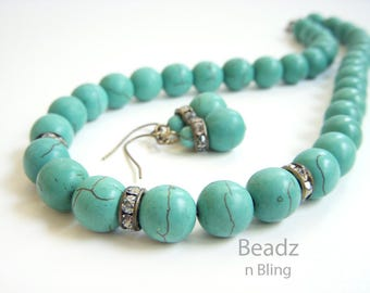 Gifts Under 30 Dollars Turquoise Necklace Earrings Jewelry Set Beach Wedding Jewelry Aqua Earrings and Necklace Set