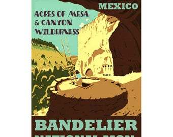 BANDELIER New Mexico 1S- Handmade Leather Journal / Sketchbook - Travel Art
