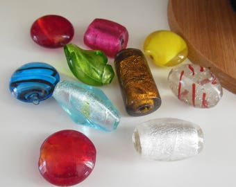 set of 10 lampwork glass beads